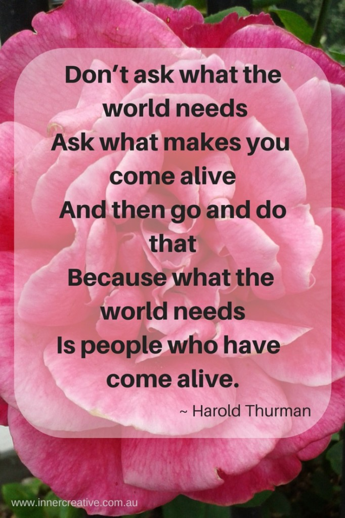 Inner Creative - creative inspiration - creativity quote from Harold Thurman - because what the world needs is people who have come alive.
