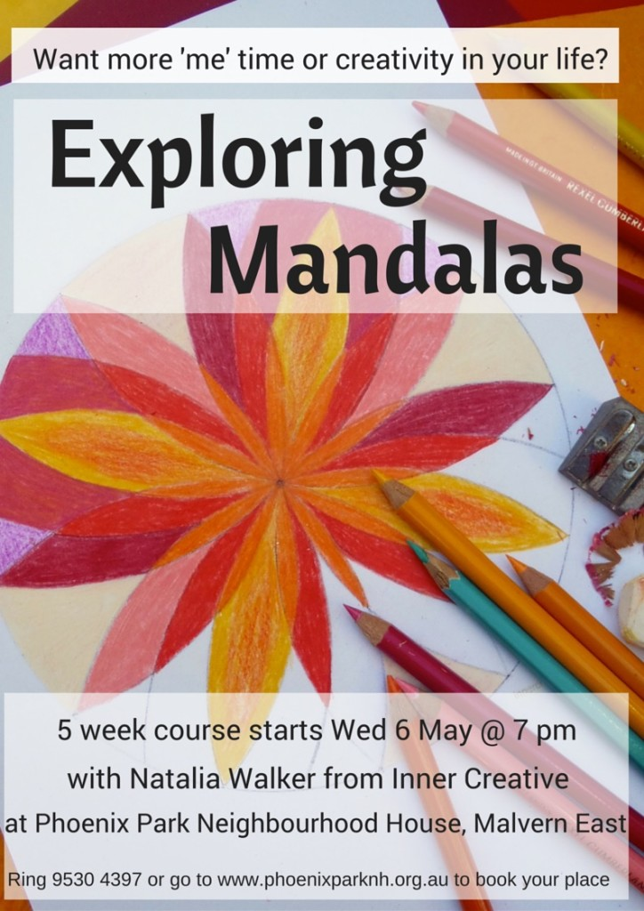 Inner Creative Exploring Mandalas Course running at Phoenix Park Malvern East Australia March 2015. inner creative.com.au