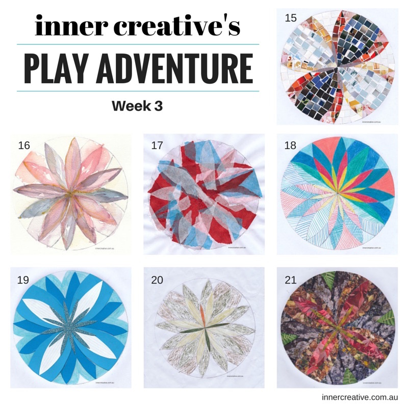 Inner Creative Play Adventure Mandala Week 3 - Featured in a blog about Facing your creative fears - innercreative.com.au