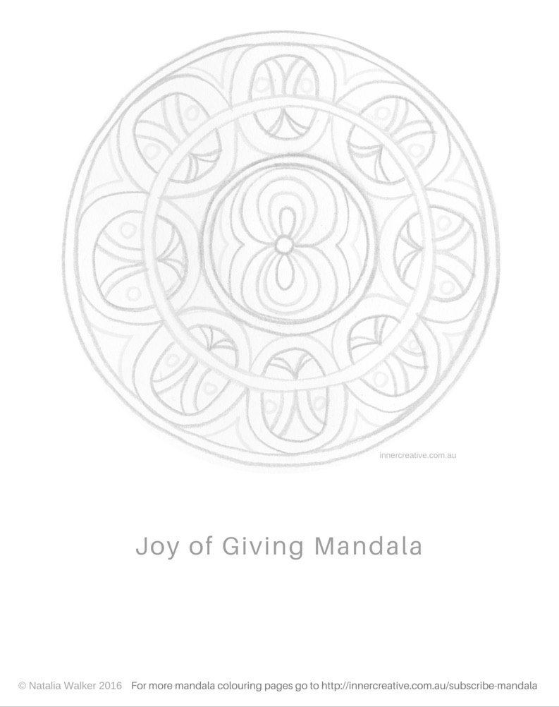 Inner Creative Mandala Inspiration - The Joy of Giving. Sign up for more mandala colouring pages. innercreative.com.au