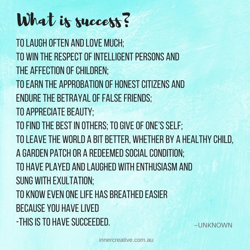 Success quote featured in Inner Creative blog The Creative Life of Jacinta Cubis. innercreative.com.au.