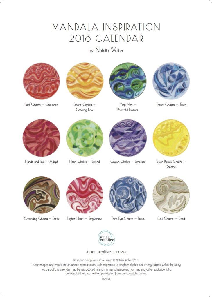 Inner Creative Mandala Inspiration 2018 Calendar back cover