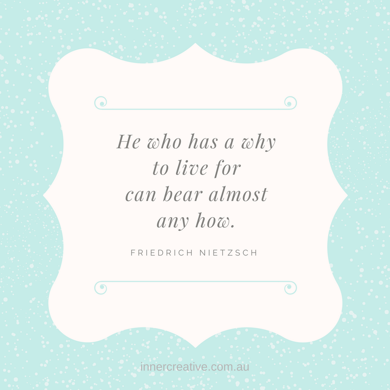 "Quote ""He who has a why to live for can bear almost any how."" Friedrich Nietzsche featured in Inner Creative blog - A question to help with finishing what you've started"